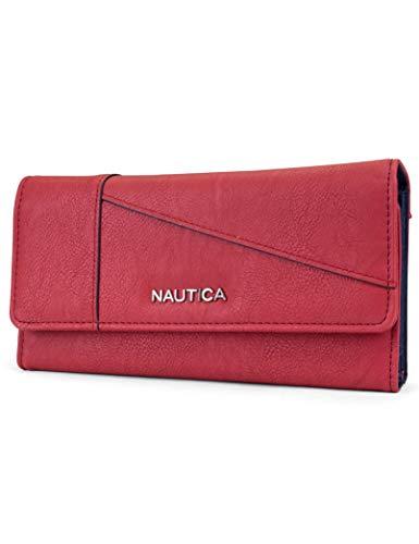 Nautica Money Manager RFID Women's Wallet Clutch Organizer (Fuego Red (Buff)) from Nautica