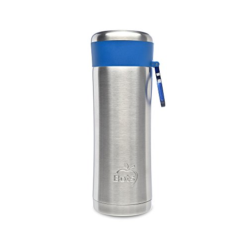 LunchBots Insulated Kids' Water Bottle (12oz) - Keeps Drinks Cold for 24 Hours - Lightweight Stainless Steel - Double Walled, Dishwasher Safe and Durable - Blue by LunchBots