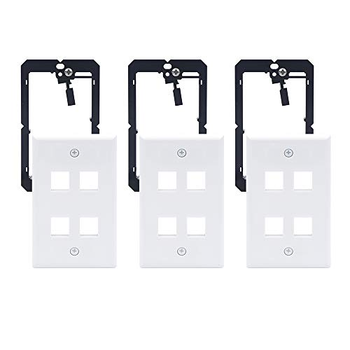 VCE 3 Pack 4-Port Keystone Wall Plate with Single Gang Low Voltage Mounting Bracket