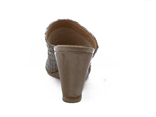 Sohle grau mit beige Leder TSZ470 Sommer 6cm geflochtenem rutschfeste in Keil Osvaldo Leder Sandalwood weich und Gefahren Echt 0wT74xafq