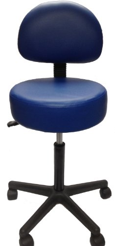 Pneumatic Rolling Adjustable Stool with Removable Backrest (Royal Blue)