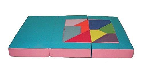 Kindersofa mit Bettfunktion 4in1 Matratze Spieltisch Puzzle Sofa f/ür Kinder Spielsofa Kinderzimmer Grau Orange Spielzimmer Grau+Orange