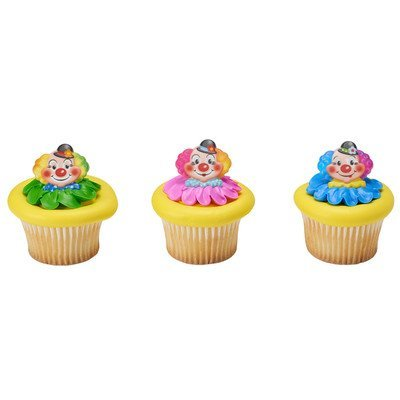 Clown Cake Toppers - Jolly Clowns Cupcake Rings - 24 pc
