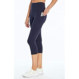 Jessica Simpson Sportswear Tummy Control Pocket Capri Legging, Midnight Blue, Large