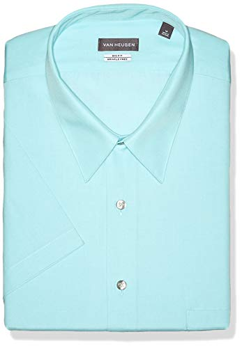 - Van Heusen Men's FIT Short Sleeve Dress Shirts Poplin Solid (Big and Tall), Aquamarine, 19