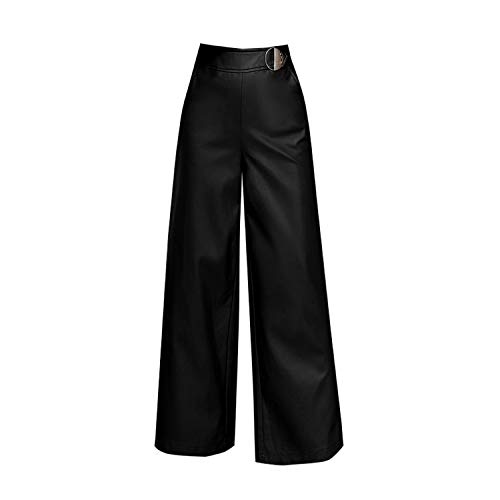 Quality Women PU Leather Pants Red Casual Wide Leg Pants Black Winter Office Full Length Trousers,Black,M