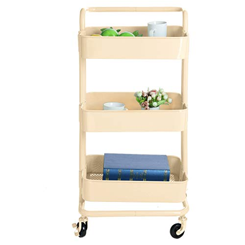 Price comparison product image 3-Tier Heavy Duty Storage Organizer Standing Shelf,  Puyujin Multifunction Metal Mesh Basket Rolling Utility Organization Cart for Bathroom,  Kitchen,  Office,  Library,  Salon & Spa (Beige)