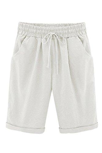 Mupoduvos Elevato Larghi White Le Sexy Spiaggia In Elastico Shorts Pantaloni Donne Casual TwATrqC
