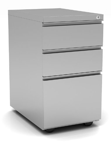 OfficeSource - 3 Drawer Locking Metal Pedestal Filing Cabinet, Silver, Anti-Tip, Adjustable Glides, Home or Office Underdesk Stoarge (CPSBBFSI)