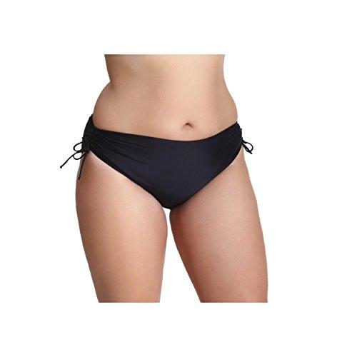 Damen Bikinihose mit Raffungen Bikinislip Panty Bikini Hose Badeslip Unifarben Schwarz Blau Pink Rot, Farbe: Schwarz, Größe: 40