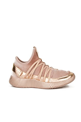 Hadari Dames Flyknit Laag-top Metallic Fashion Sneaker