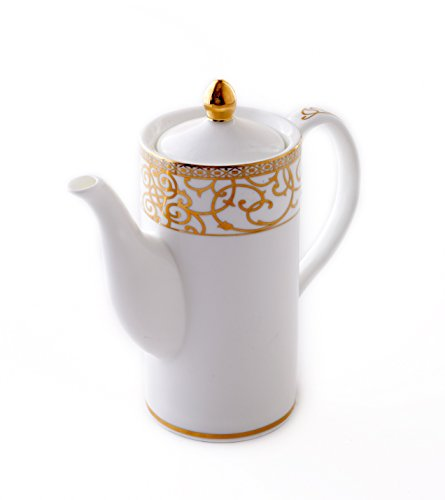 CRU by Darbie Angell Athena 24Kt Tea Pot, Gold/White