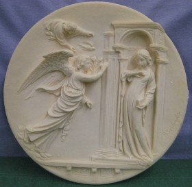 Studio Dante di Volteradici: The Annunciation - By Alberto Santangela - 1985 Ivory Alabaster Collectible Plate