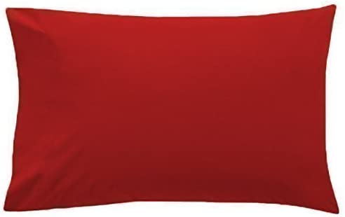 2 x LUXURY PILLOW CASES POLYCOTTON PAIR PACK HOUSEWIFE BEDROOM PILLOW COVER HUMLIN (red) by HUMLIN: Amazon.es: Hogar