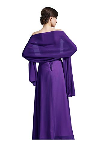 Sheer Soft Chiffon Bridal Women's Shawl For Special Occasions Purple