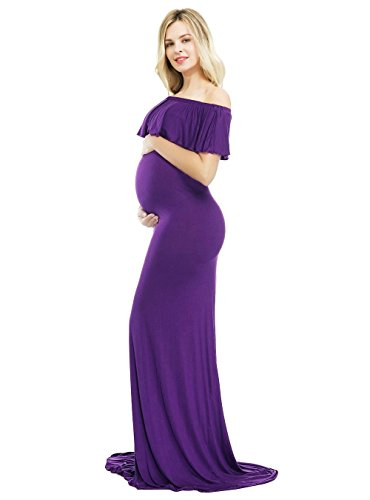 Sannyway Photoshoot Maternity Dress Ruffle Off Shoulder Photography Maxi Gown (Purple, L) by Sannyway (Image #3)