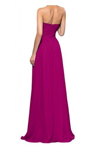 Toscana queridacámara totalmente por la noche en forma de corazón de la perla de la novia vestidos de dama de honor de la bola a la gasa largo vestidos de fiesta fucsia