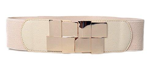 Womens Elasticity Stretch Gold-Plated Buckle Dress Waist Belt,Width 2.3inch(6cm) (Beige)