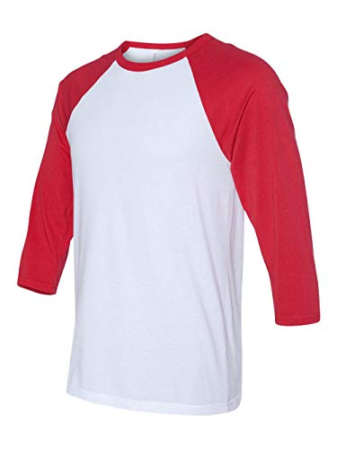 (Bella 3200 Unisex 3 By 4 Sleeve Baseball Tee - White & Red, Extra Large)