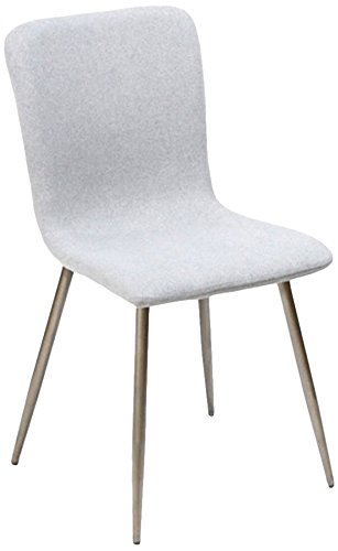 FurnitureR 4 Pcs Dining Chair Unique Style Fabric Cushion Dinning Seat Natural Wood Legs Armless Chairs Set Grey (Craigslist Chairs Table And Kitchen)