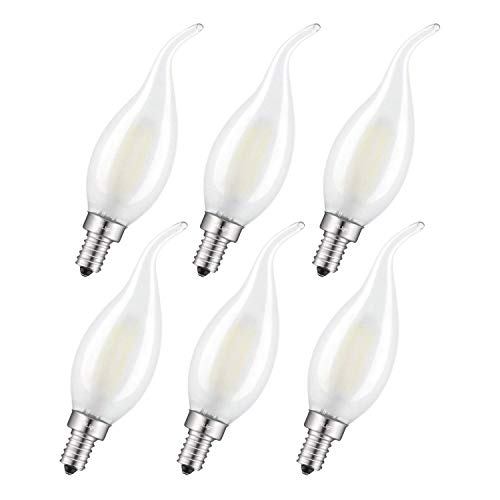 CRLight 4W LED Candelabra Bulb 4000K Daylight White 45W Equivalent 450LM, E12 Base Antique C35 Frosted Glass Candle Flame Shape, Dimmable LED Chandelier Light Bulbs, 6 Pack