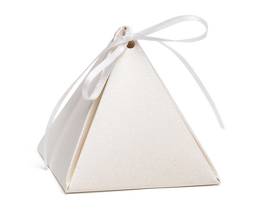 Hortense B. Hewitt 54881 Pyramid Favor Boxes, 3-Inch, Ecru Shimmer