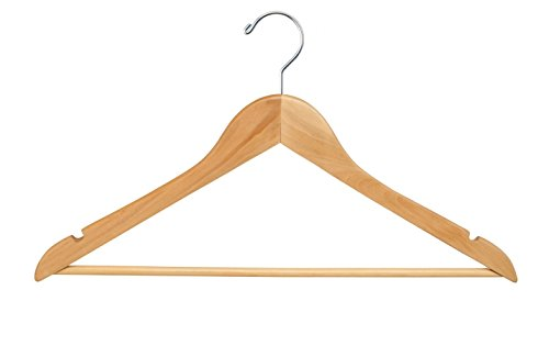 Econoco Commercial Flat Wooden Hanger with Chrome Hook and Wooden Bar, 17'', Natural (Pack of 100)