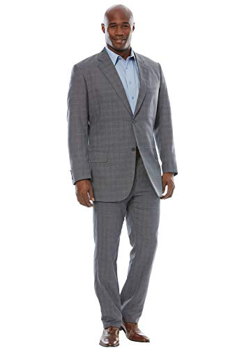54 Vent Window - KS Signature Men's Big & Tall Easy Movement Two-Button Jacket, Charcoal Window Pane Big-54