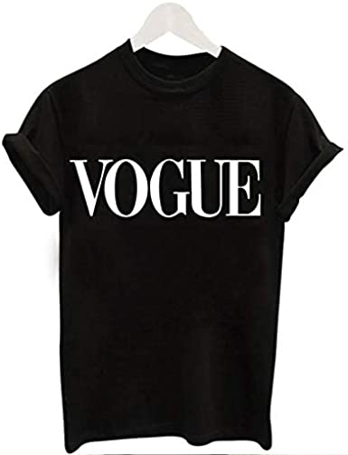 Genial Camiseta Vogue Negra Moda Manga Corta Camiseta Mujer Fresco Casual para Primavera Verano de Uso Diario a la Moda Hacer Deportes Yoga IR al Gym (S): Amazon.es: Ropa y accesorios