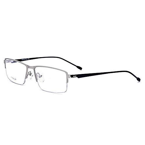 de Plata Flexibles rebordes Acetato Lente Titanio Gafas con Negocios Peso Semi de Ligero Cuadrada de sin Anteojos de Clara Fibra aleación Forma Cnvw1qt