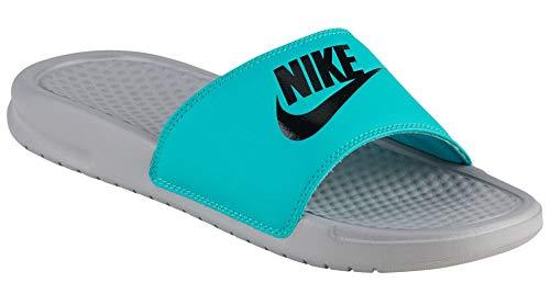 (Nike Women's Benassi Just Do It Sandal, Clear Jade/Black - Wolf Grey, 10 Regular US)