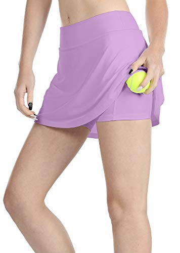 (icyzone Athletic Skirts for Women - Workout Running Golf Tennis Skort with Pockets (M, Lilac))