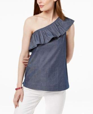 (Tommy Hilfiger Womens One Shoulder Ruffled Blouse Navy M)