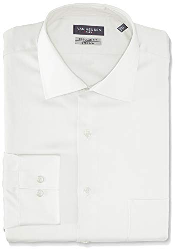 Van Heusen Men's Flex Collar Regular Fit Solid Spread Collar Dress Shirt, White, 17.5