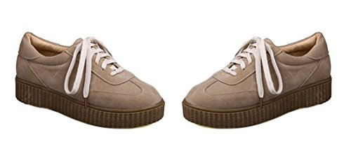 Aisun Womens Casual Ronde Neus Dikke Zool Laag Uitgesneden Plateau Lace Up Platte Sneakers Schoenen Beige