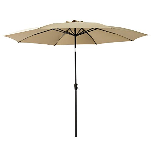 (FLAME&SHADE 10ft Outdoor Patio Umbrella Market Parasol Crank Lift Fiberglass Rib Tips Push Button Tilt)