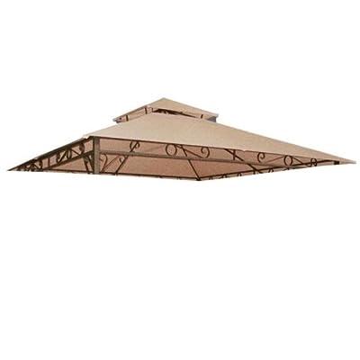 Tan 10' x 10' Feet Garden Canopy Gazebo Replacement Top 2 Tier Outdoor Patio Lawn UV Block Sun Shade Waterproof Polyester 127 3/4 Square Inches Tent Durable: Garden & Outdoor