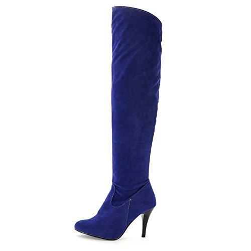 donna Blu sintetico sottile tacco in da con ginocchio al blu materiale Nonbrand vx5Yq4n