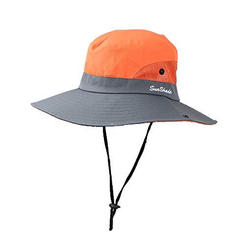 Kelly Bro Bucket Hat,Lightweight Foldable Wide Brim Fishing Hat Summer Outdoor Visor Mesh Cap Unisex Orange ()