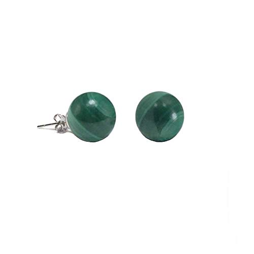 (Simple Gemstone Green Malachite Round Ball Stud Earrings For Women 925 Sterling Silver 6MM)