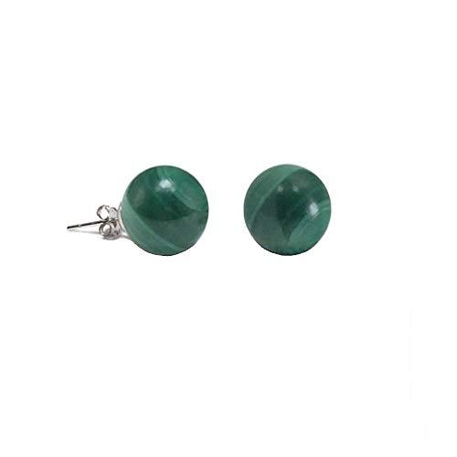 Simple Gemstone Green Malachite Round Ball Stud Earrings For Women 925 Sterling Silver 6MM