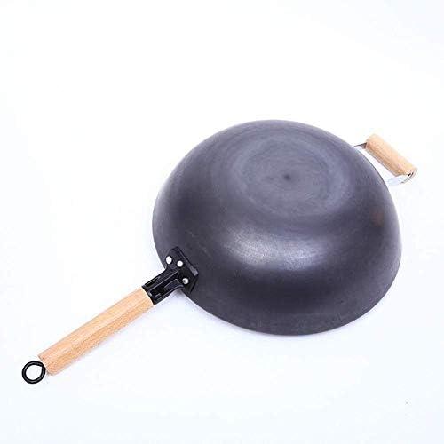 Wok en Acier Inoxydable/Pot Non revêtu - Calibre 32Cm, poêle à poignée en Bois Frais, Convient à Toutes Les plaques de Cuisson, y Compris l'induction