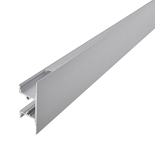 LEDwholesalers Aluminum Channel System with Cover, End Caps, and Mounting Clips, for LED Strip Installations, Up/Down Indirect, Pack of 5x 1m Segments, 1904-UDI