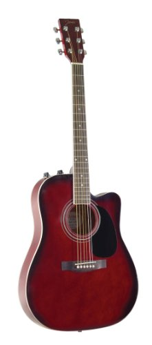 Johnson JG-650-TR Thinbody Acoustic Guitar with Pickup, Redburst