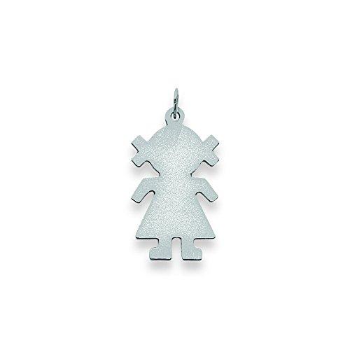 14k Wg Plain Medium .013 Gauge Engravable Girl Charm by Shop4Silver