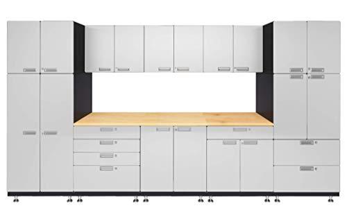 "Hercke Kit 1 Double Work Center Garage Cabinet System – 14 Piece Modular Storage Cabinets with Maple Work Top (24""D x 150""W x 84""H) by SafeRacks (Powder Coat)"