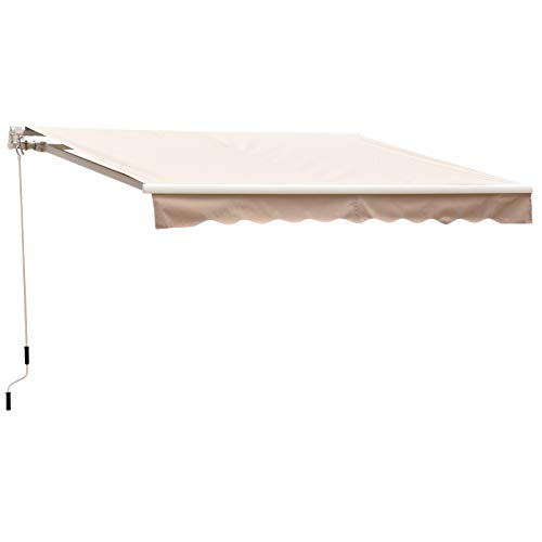 Outsunny 8' x 7' Patio Manual Retractable Sun Shade Awning - Cream