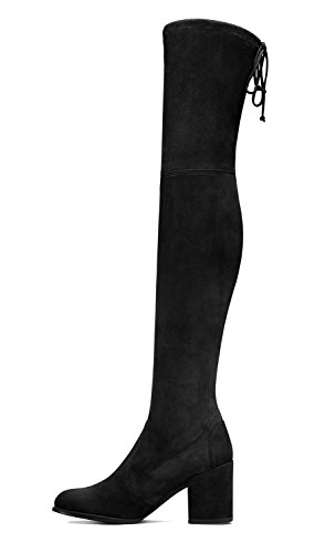 QianZuLian Womens Suede Drawstring Thigh High Over The Knee Boots