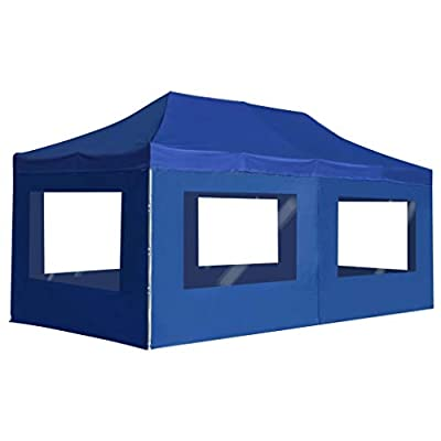 vidaXL Outdoor Shade Canopy with Sidewalls Pop-Up Canopy Tent Instant Outdoor Canopy Easy Straight Leg Folding Shelter for Your Yard, Patio, Garden, Party or BBQ 236.2x118.1 inch Blue : Garden & Outdoor