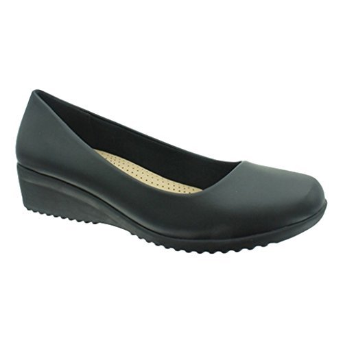 Women's Relax-6 Vegan Leather Slip-On Loafer (6.5 B(M) US, (Black Leather Wedge Shoes)
